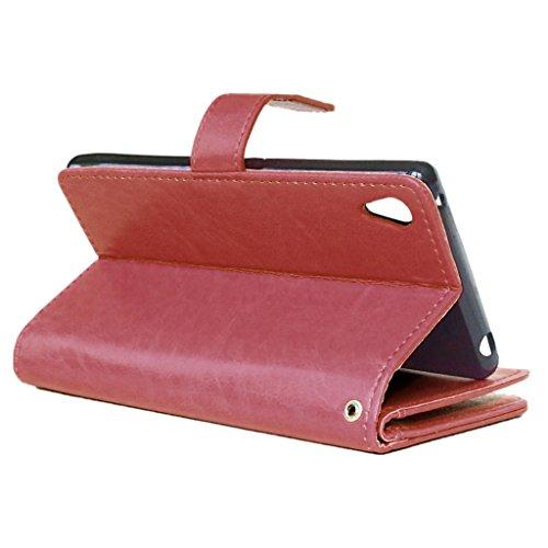 UBMSA-Neue Luxus-Leder-Mappen-Schlag-Standplatz-Fall-Abdeckung Taschen and Schalen f¨¹r Sony Mobile Xperia Z3 [Eingebaute 9 Kreditkarten Slots]
