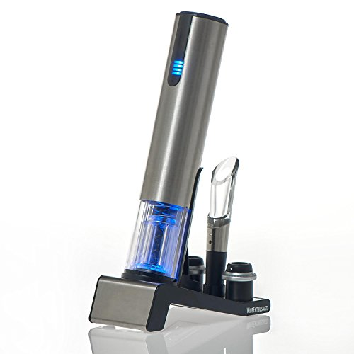 Wine Enthusiast 2-in-1 Electric Blue 1 Automatic Wine Bottle Opener and Preserver Set (7 Piece)