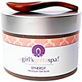 Synergy Pink Himalayan Salt Body Scrub All Natural with Lavender Essential Oil, Lavender Flowers, Jasmine, Rose Geranium with Free Wooden Spoon