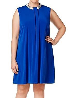 Calvin Klein Women's Plus Shift Hardware Pleat Dress Blue 18W