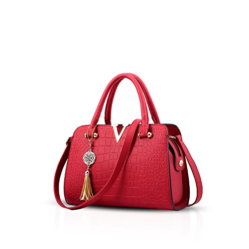 NICOLE&DORIS Moda Bolsos de Mano Totes para Mujer Monederos para Mujer Bolsos Bandolera Impermeable PU Rojo Vino Tinto