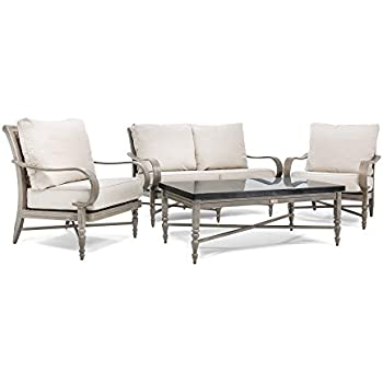 Blue Oak Outdoor Saylor 4PC Patio Furniture Conversation Set (Loveseat, Stone  Top Coffee Table