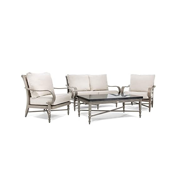 Blue Oak Outdoor Saylor 4PC Patio Furniture Conversation Set (Loveseat, Aluminum Top Coffee Table, 2 Lounge Chairs) with Outdura Remy Sand Cushion - Luxury Dining comfort: you and your party guests will dine in comfort while enjoying cocktails and great conversation. Ideal for patio, garden, deck, porch, fire pit, and poolside entertainment Trusted quality: beautiful and best quality outdoor patio furniture set made by the best known veterans in the patio set industry with dozens of years of experience and innovation Long lasting build: the rustproof aluminum table top is a statement piece for your outdoor space. The thick, rustproof aluminum gives it superior durability in the elements - patio-furniture, patio, conversation-sets - 41wAragiJVL. SS570  -