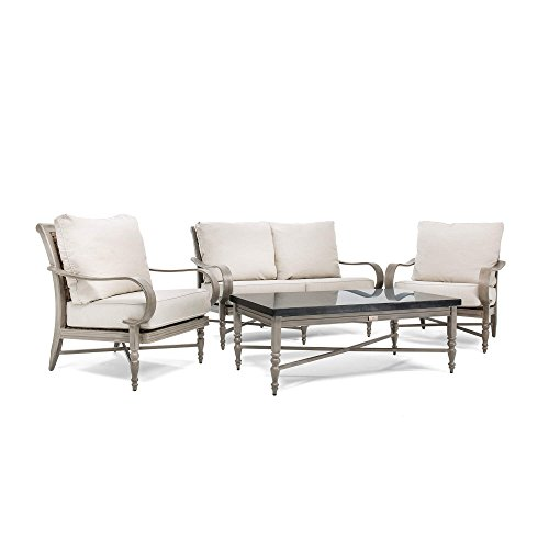 Blue Oak Outdoor Saylor 4PC Patio Furniture Conversation Set (Loveseat, Aluminum Top Coffee Table, 2 Lounge Chairs) with Outdura Remy Sand Cushion (Labor Furniture Sale Patio Day)