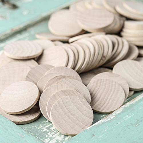 Wooden Token - Factory Direct Craft Unfinished Wood Round Disc Cutouts | Package of 100 | 1-1/2