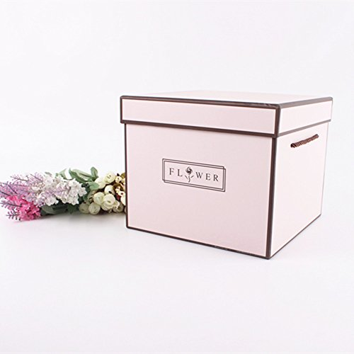 Square Flower Bouquet Arrangement Box Gift Packaging Florist Supplies 1 Pcs (Pink)