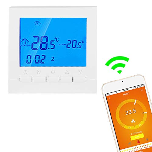 WiFi Thermostat, Programmable Wireless Thermostat or Wi-Fi Thermostat, Digital Smart Thermostat Control Motorized Valve, Thermal Valve and Electric Heating Film(110V)