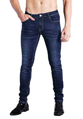 ZLZ Slim Fit Jeans, Men's Younger-Looking Fashionable colorful Super Comfy Stretch Skinny Fit Denim Jeans (32, - Blue Denim Jean
