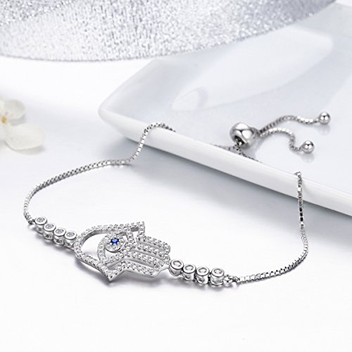BAMOER 925 Sterling Silver Expandable Lucky Blue Evil Eye Chain Bracelet with Sparkling Cubic Zirconia for Women Girls Style 8 by BAMOER (Image #3)