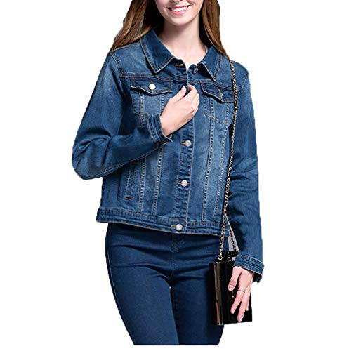 SUSIELADY Women Casual Denim Jacket Jeans Tops Half Sleeve Trucker Coat Outerwear Girls Fashion Slim Outercoat Windbreaker (XL, Long Sleeve-Blue)