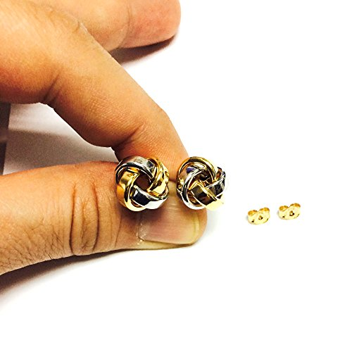14k Gold Shiny Square Tube Love Knot Stud Earrings, 10mm by JewelryAffairs (Image #4)