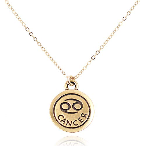 MaeMae Cancer Zodiac Pendant Necklace, 14k Gold Filled Dainty Chain, 18