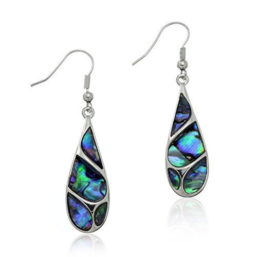PammyJ Silvertone Abalone Swirl Tear Drop Dangle Earrings - Blue Swirl Earrings