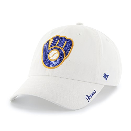 Milwaukee Brewers 47 Brand Women's White Sparkle Team Clean Up Hat