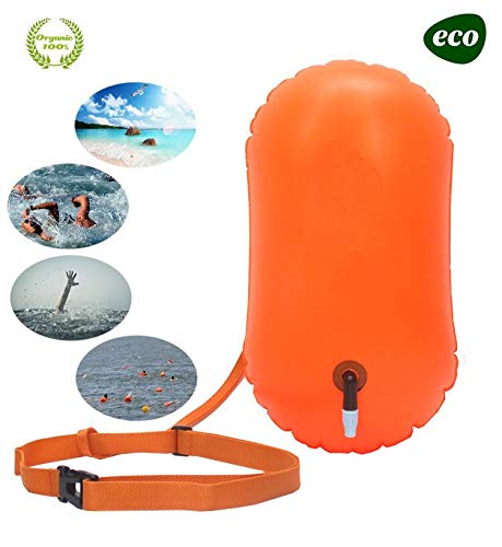 E-Onfoot Swim Float and Drybag for Open Water Swimmers and Triathletes, Highly Visible Bouy Float Air Bag for Safty Swim Training (Orange-No Storage)
