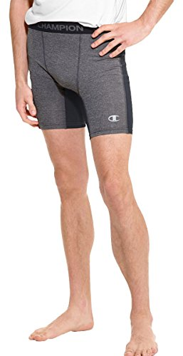 Champion PowerFlex Men's Solid Compression Shorts_Slate Grey Heather/Black_Small