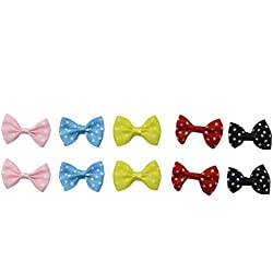 HUELE 30pc DIY Satin Ribbon Mini Bow Tie Bows Ribbon Bows Mini Mixed Embellishment Craft Artificial Applique Wedding (Dot)