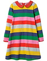 Fiream Toddler Girls Cotton Party Casual Striped Longsleeve Dresses