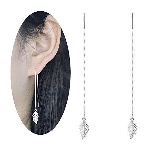 (megko Women's Simulated Pearl Threader Earrings Silver Long Stud Earrings Leaf Earring)