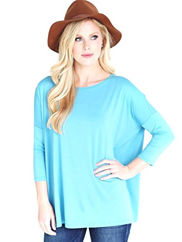 (Jack David Famous Women's Plus Size T-Shirt Scoop Neck Bamboo Top Casual Soft Loose Fit 1X 2X 3X (3X, Light Baby Blue))