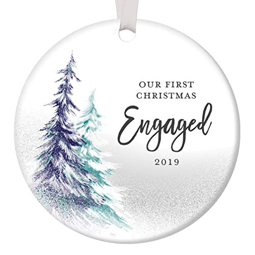 1st Christmas Engaged Ornament 2019 Engagement Party Gifts for Couple, First Xmas as Fiance Fiancee Man Woman Gay Present Idea Ceramic Keepsake 3