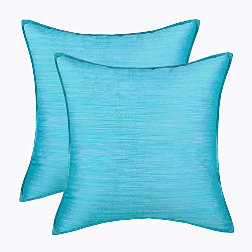 - CaliTime Pack of 2 Silky Throw Pillow Covers Cases for Couch Sofa Bed Modern Light Weight Dyed Striped 20 X 20 Inches Turquoise Blue