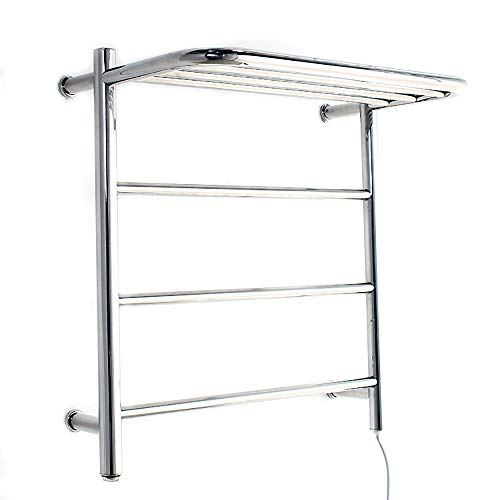 (BILLY'S HOME 304 Stainless Steel hot Towel Warmer, Wall-Mounted Towel warmmer with Storage Shelf 4 Heated Bars, Chrome Polished, for)