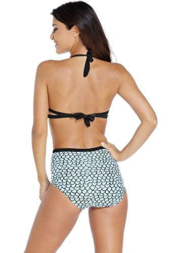 Nuevas señoras negro y azul pescado escala bañadores de una pieza Monokini Beachwear Swimsuit tamaño XL UK 12–�?4EU 40–�?2
