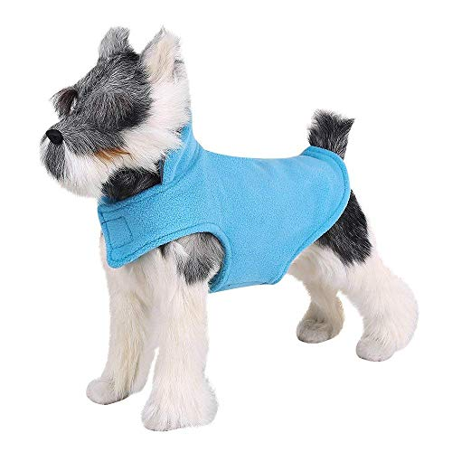 FOREYY Reflective Dog Fleece Coat with Leash Attachment Hole - Dogs Pet Autumn Winter Jacket Sweater Vest Apparel Clothes for Small Medium and Large Dogs(Blue,XXS)