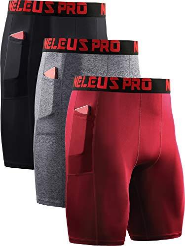 Neleus Men's 3 Pack Compression Short with Pocket 4