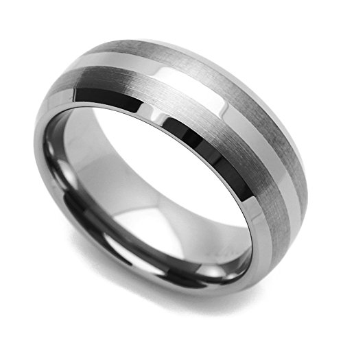 (Double Accent 8MM Comfort Fit Tungsten Carbide Wedding Band Brushed Stripe Beveled Edges Ring (7 to 14), 14)