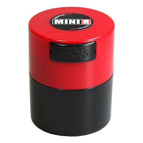 Minivac - 10g to 30 grams Airtight Multi-Use Vacuum Seal Portable Storage Container for Dry Goods, Food, and Herbs - Red Cap & Black Body