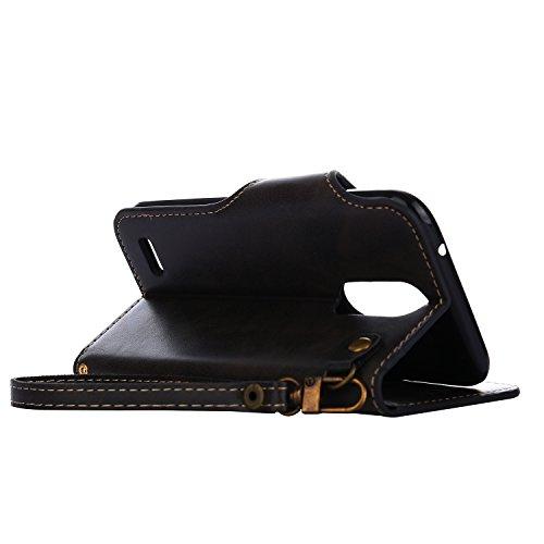 Funda LG K10 2017, CaseLover Folio Cartera Piel PU Carcasa para LG K10 2017 Libro Cuero Tapa con Cierre Magnético, Soporte Plegable, Billetera y Tarjeta Ranura Cubierta Leather Caja - Naranja Negro