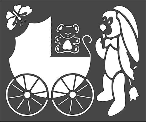 Super_deals_USA 1-5x6 inch Stencil, Baby Buggy Stroller Bunny Bear (#7)