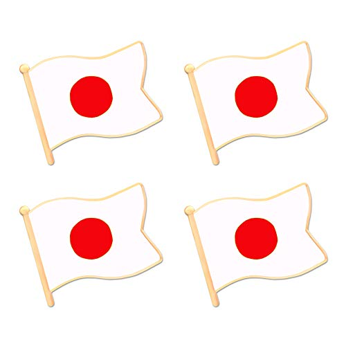 ALEY Japan Japannese Flag Lapel Pin Decorations (4 Pack)