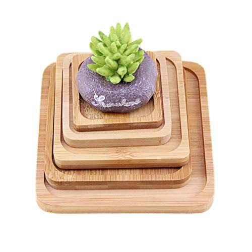 Best Quality - Storage Trays - Bamboo Square Utility Home Storage Tray Dinnerware Pad Vase Tray Bonsai Flower Pots Tray Home Storage Garden Table Decoration - by SeedWorld - 1 PCs