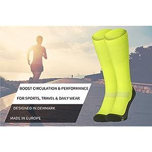 DANISH ENDURANCE Graduated Compression Socks (Yellow 1 Pair, US Women 8-10//US Men 6.5-8.5)