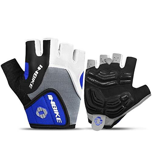 INBIKE Cycling Half Finger Gloves Men & Women Mountain Bike 5MM Gel Shock-Absorbing Pad Anti- Slip Breathable MTB DH Road Bicycle Gloves (Blue, M)