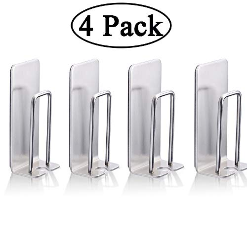 Water Holder Resistant (4 Pack Wall Mounted Toothbrush Holder with Self Adhesive, Brushed Stainless Steel Toothbrush Holder Waterproof and Rust Resistant No Drill Installation for Bathroom)