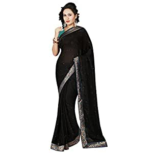 Shilp-Kala Satin Stone Worked Black Colored Saree SKMF1156