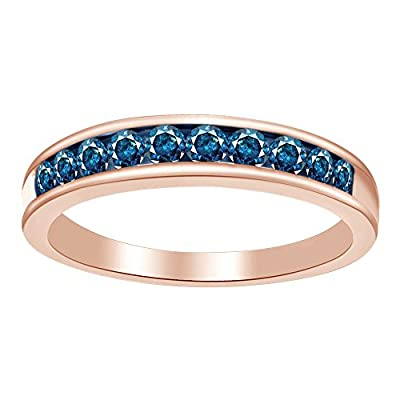 Blue Natural Diamond Band Ring In 10k Solid Gold (0.5 Cttw) big discount