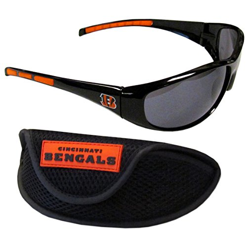 Siskiyou NFL Cincinnati Bengals Wrap Sunglasses & Sport Case, Black