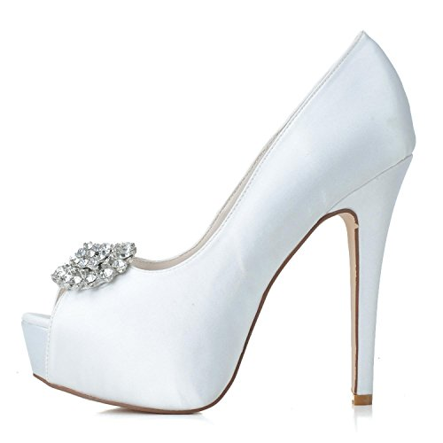 L@YC Zapatos de boda de las mujeres Stretch Satin Spring / Peep Toe Sandals Wedding / Party Evening / Multi-Color Custom Grey