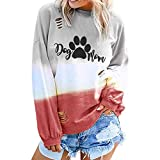 NANTE Top Loose Women's Blouse Dog Paw Print Gradient Color T Shirts Hollow Out Long Sleeve Shirt Womens Tops Costume Clothes (Green, XXL)
