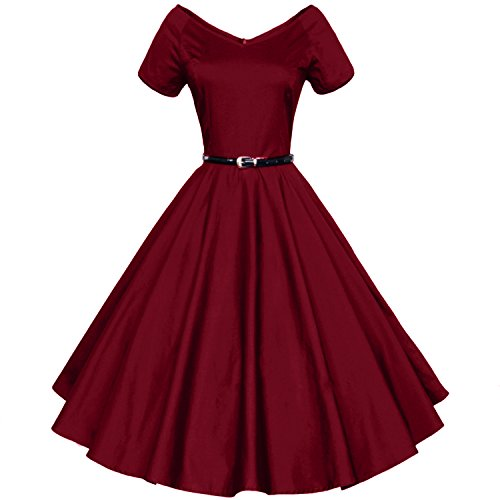 Shengdilu Women's Vintage 1940s 50s Shirtwaist Flared Swing Skaters Dress L Wine Red (40s And 50s)