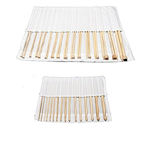 KurtzyTM Set of 16 Bamboo Crochet Hooks and 16 Bamboo Knitting Needles (Signature Cable Knit)