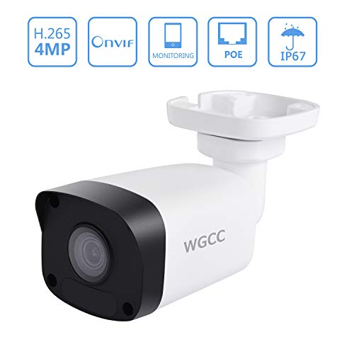 WGCC PoE IP Camera 4MP 4.0MM Super HD Outdoor Security Surveillance Bullet IP Camera with 98ft Night Vision, Remote Viewing, Motion Detection, IP66 Waterproof and Push Alerts for Android iOS PC