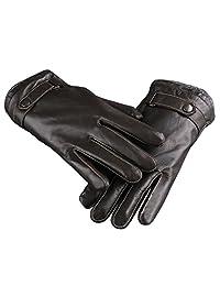 Xinyian Men's Winter Warm Lining Italian Nappa Sheepskin Leather Gloves Brown