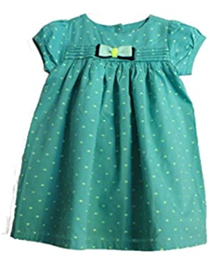 Baby Girl Swiss Dot Dress, Green