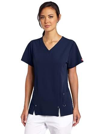 Dickies Womens Scrubs Xtreme Stretch V-Neck Shirt Xtreme Stretch V-Neck Scrubs Shirt Medical Scrubs Shirt - Blue - XX-Small